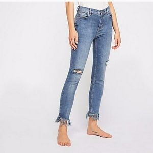 Free People Great Heights Frayed Jeans Skinny 26